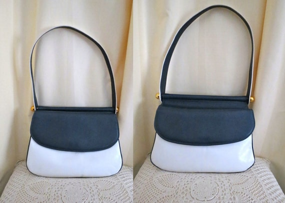 Vintage Hollywood Yearling Sydney Double Sided 60s 70s White and Dark Blue Leather Handbag