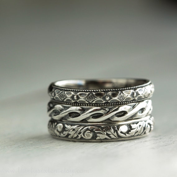 Romantic Stacking Rings in  Sterling Silver