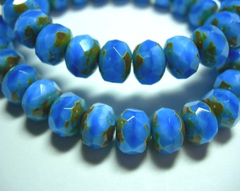 25 8x6mm Powder Blue Picasso Czech Fire polished Rondelle beads