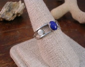 silver square wire with silver discs and lapis ring