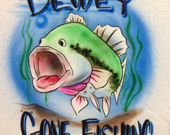 Gone Fishing Bass Airbrush T-Shirt Personalized with Name Fish Airbrushed Shirt