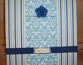Cottage Chic Blue and Yellow Decoupaged Picture Frame