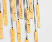 CUSTOM BRAILLE : Personalized Braille Engraved Necklace