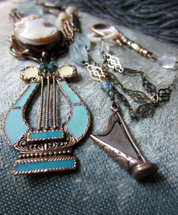 SOLD to Patti - the lyrist - vintage assemblage necklace with shell cameo, enamel lyre pendant and aquamarine by the french circus
