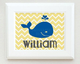 WHALE Personalized Printable Art in Yellow