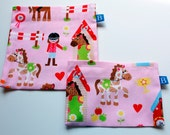 Reuseable Eco-Friendly Set of Snack and Sandwich Bags in Girls Horses Fabric
