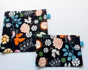Reuseable Eco-Friendly Set of Snack and Sandwich Bags in Black Floral IKEA Fabric