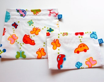 Reuseable Eco-Friendly Set of Snack and Sandwich Bags in IKEA Children's Fabric