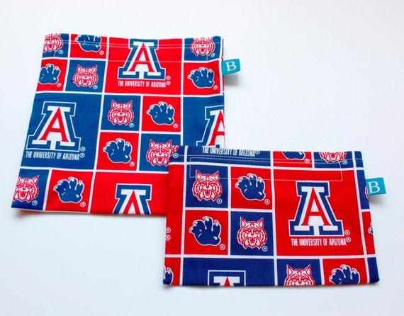 Reuseable Eco-Friendly Set of Snack and Sandwich Bags in University of Arizona Fabric