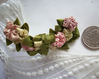 Beautiful antique ribbon work flower garland in silk