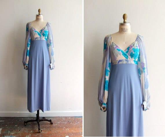 SALE////vintage 1970s LEONARD paris maxi dress with sheer ballooned sleeves