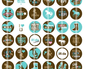 Turquoise Cowgirls - 1 Inch Round - Digital Collage Sheet for making Bottle Cap Pendants, Hair bow Centers,  Cupcake toppers, and more