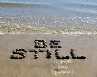 Beach Theme BE STILL photo with mat- calming yoga word art, beach stone words, beach photography, inspirational photo, zen art, summer art