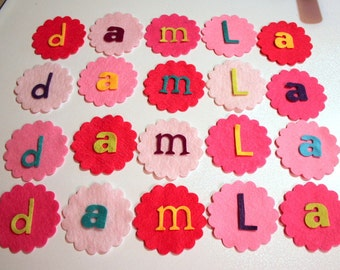 40 Piece Felt Die Cut Scallop Circles, Letters DIY Kit for Baby Shower, Birthday...