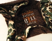 Camo Blanket - Personalized baby blanket -Brown and camo minky print