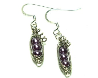 Peas in a Pod, Pea Pod Earrings, Light Purple Pearls, Other Colors Available