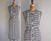 vintage 1950s dress // 50s // plaid cotton dress XL