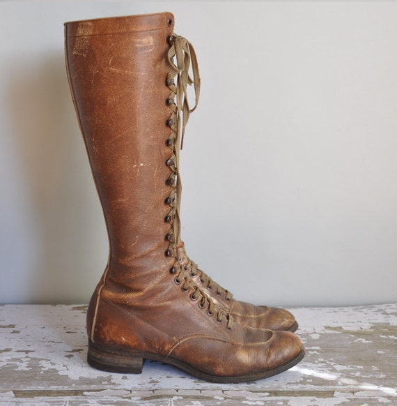 1920s leather boots / vintage antique 20s 30s leather lace up boots / Bootleggers