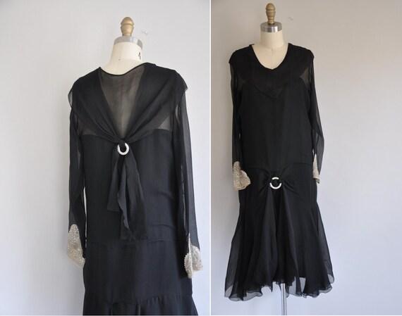 r e s e r v e d...antique 1920s chiffon dress/ 20s long sleeved chiffon dress/ Diamonds Are Forever