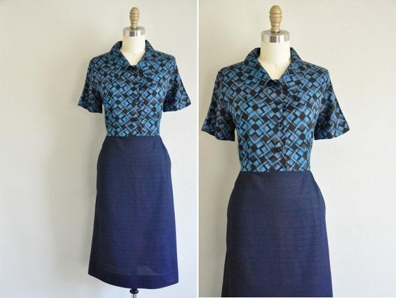 vintage 1960s dress / 60s dress / Ocean Textiles
