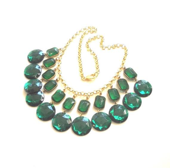 Chandelier Emerald Green Crystal Bib Statement Necklace