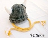 Viking baby hat PDF crochet PATTERN 6-36 month gray white yellow beanie cap horns braided Norse costume infant grey hair soft helmet