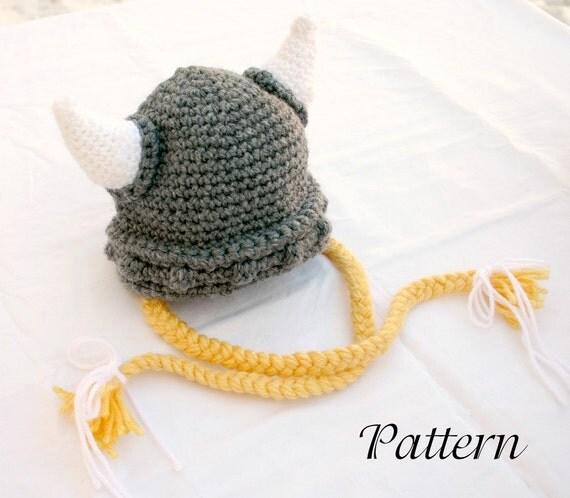 Viking baby hat PDF crochet PATTERN 6-36 month gray white yellow beanie cap horns braided Norse costume infant grey hair soft helmet