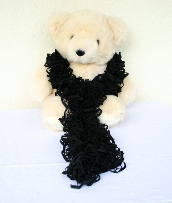 Black scarf crocheted mesh yarn fluffy frilly neckwarmer adult teen fashion woman neckwear handmade washable