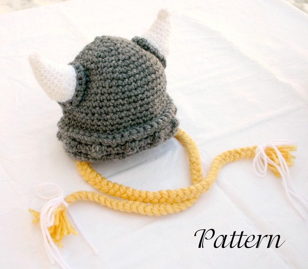 Viking Baby Hat Pdf Crochet Pattern 6 36 Month Gray White