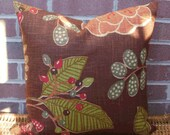 Special Listing for Angie (3) 18 X 18 and  (1) 16 X 16 Pillow Covers in Linen Flax Berry, Leaf and Floral Design