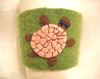 Pink Turtle Felted Coffee Cozy