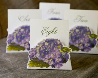 Purple Hydrangea Table Number Tents - Purple Hydrangea Wedding - Purple Flower Wedding