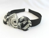 Black White Floral Headband, Fabric Wrapped, Three Handmade Flowers, Child or Adult