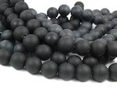 "8"" BLACK 10mm sea beach velvet glass beads matte frosted medium round"