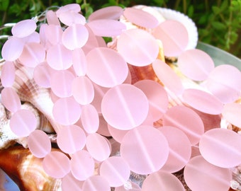 """4"""" / 8"""" str 12mm Pink SMALL coin sea beach velvet glass beads matte frosted recycled"""