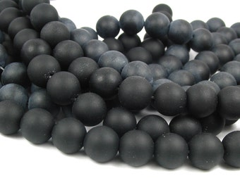 "8"" BLACK 10mm sea beach velvet glass beads matte frosted medium round"