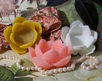 2 Beeswax Lotus Flower Tealight Tea Light Holder Choice Of Color