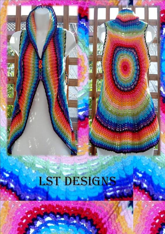 Rainbow Spiderweb Boho Hippie Vest