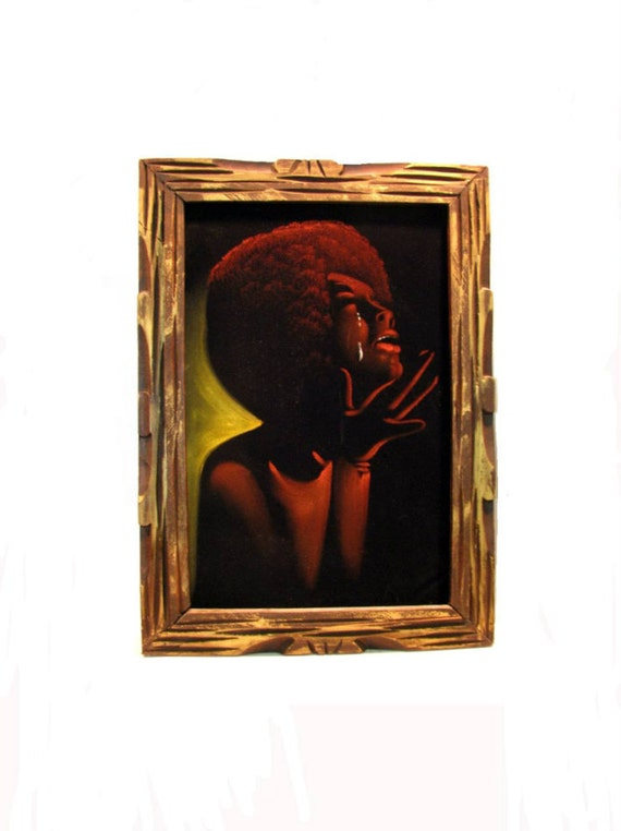 Vintage1970's Foxy Lady Cleopatra Jones Kitsch Black Velvet Painting