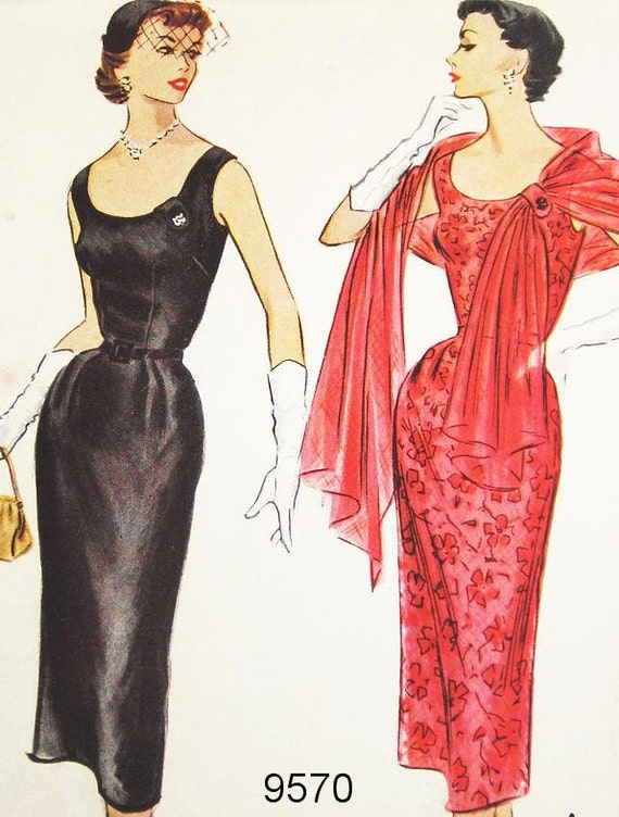 "Misses' Fitted Wiggle Dress and Stole - SZ 14/Bust 32"" - McCalls 1950s Dress Sewing Pattern 9570"