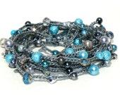 Beaded Crochet Wrap Bracelet Long Necklace Dark Grey Steel & Aqua Pearls and Crystals
