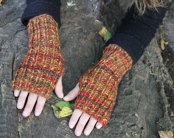 Fingerless gloves, Colourful Autumn mittens, womens chunky gloves, knitwear UK