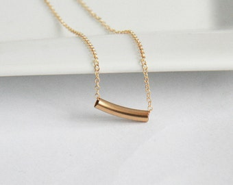 Delicate Gold Necklace,Bar Necklace,Curved Tube,Tiny Tube,Tube Necklace,Simple Necklace,Dainty Jewelry,Bar Necklace,Gold Necklace