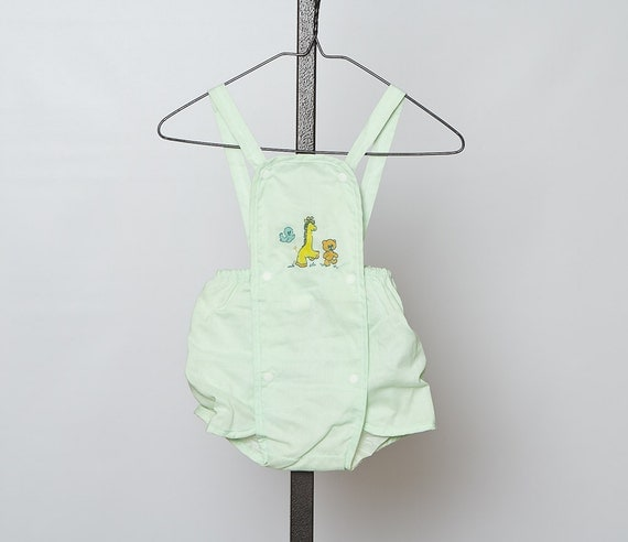 vintage 1970s baby romper / green
