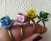 Cute tea cup ring Tea party Choose colour Alice in Wonderland adjustable ring by NewellsJewels on etsy
