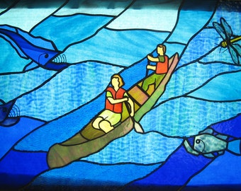 Canoers with Fish and Dragonfly Stained Glass Panel: Made to Order