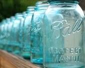 18 OLD Aqua  Blue PERFECT Mason QUART Canning Jars Great Wedding Centerpieces