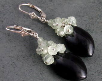 Black onyx earrings with prehnite-STELLA, handmade silver jewelry