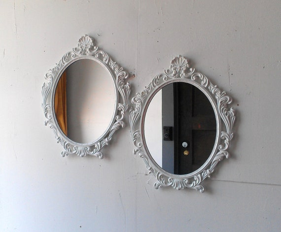 White Wall Mirror in Vintage Oval Brass Frame Set of Two 16 by 13 Inches