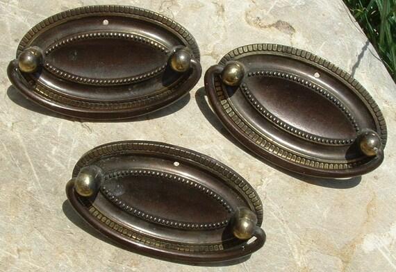Set of Three Oval Vintage Brass Drawer Pulls